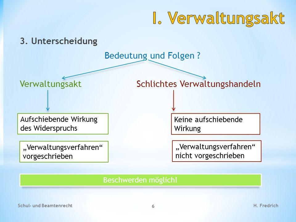 I. Verwaltungsakt 3. Unterscheidung Bedeutung und Folgen Verwaltungsakt Schlichtes Verwaltungshandeln