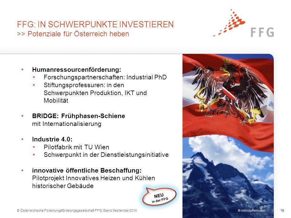 FFG: IN SCHWERPUNKTE INVESTIEREN >> Potenziale für Österreich heben