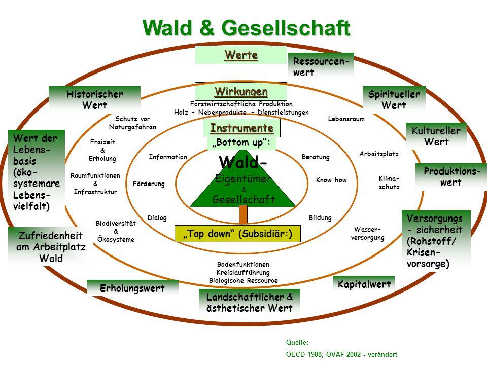 Wald & Gesellschaft Wald- Werte Wirkungen Instrumente Eigentümer