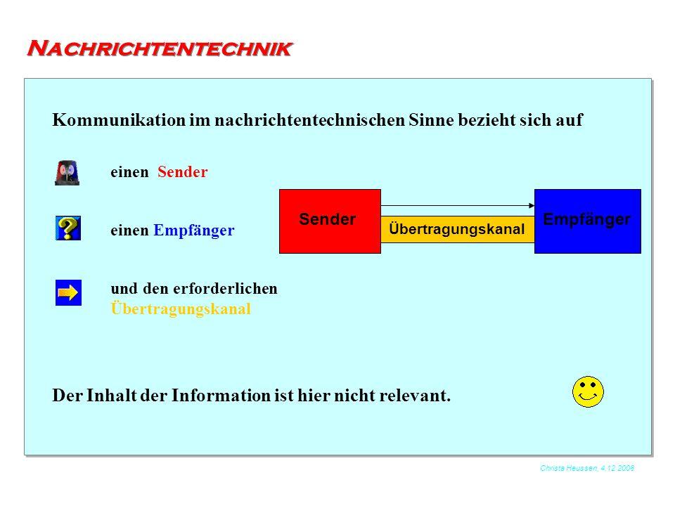 Nachrichtentechnik Kommunikation im nachrichtentechnischen Sinne bezieht sich auf. einen Sender. Sender.