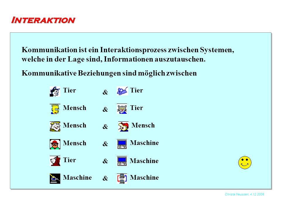 Interaktion Kommunikation ist ein Interaktionsprozess zwischen Systemen, welche in der Lage sind, Informationen auszutauschen.