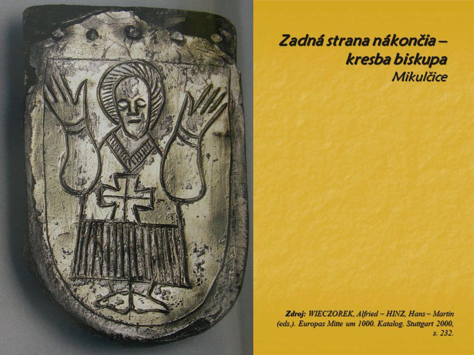 Zadná strana nákončia – kresba biskupa Mikulčice