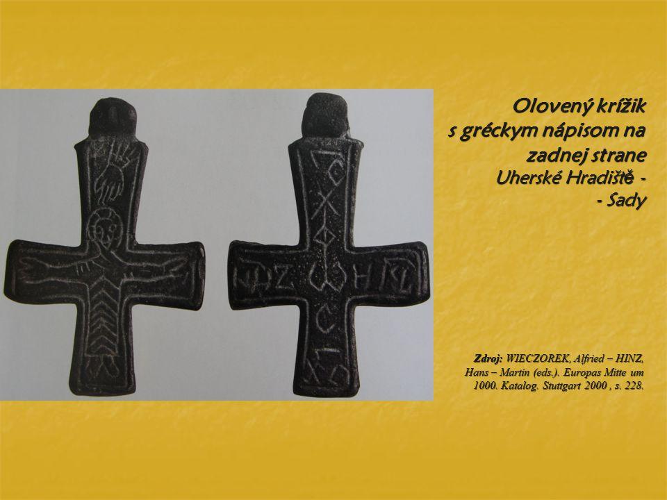Olovený krížik s gréckym nápisom na zadnej strane Uherské Hradiště - - Sady