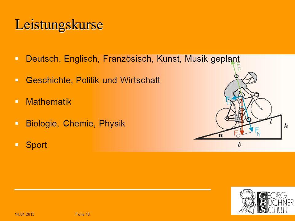 Leistungskurse Deutsch, Englisch, Französisch, Kunst, Musik geplant