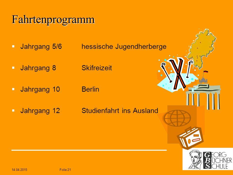 Fahrtenprogramm Jahrgang 5/6 hessische Jugendherberge