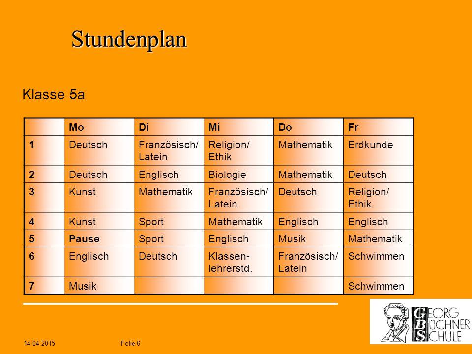 Stundenplan Klasse 5a Mo Di Mi Do Fr 1 Deutsch Französisch/ Latein