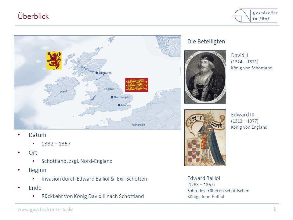 Überblick Die Beteiligten Datum Ort Beginn Ende David II Edward III