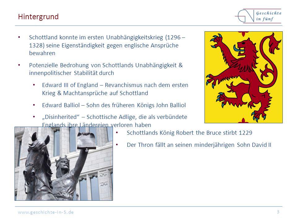 Hintergrund Schottland konnte im ersten Unabhängigkeitskrieg (1296 – 1328) seine Eigenständigkeit gegen englische Ansprüche bewahren.