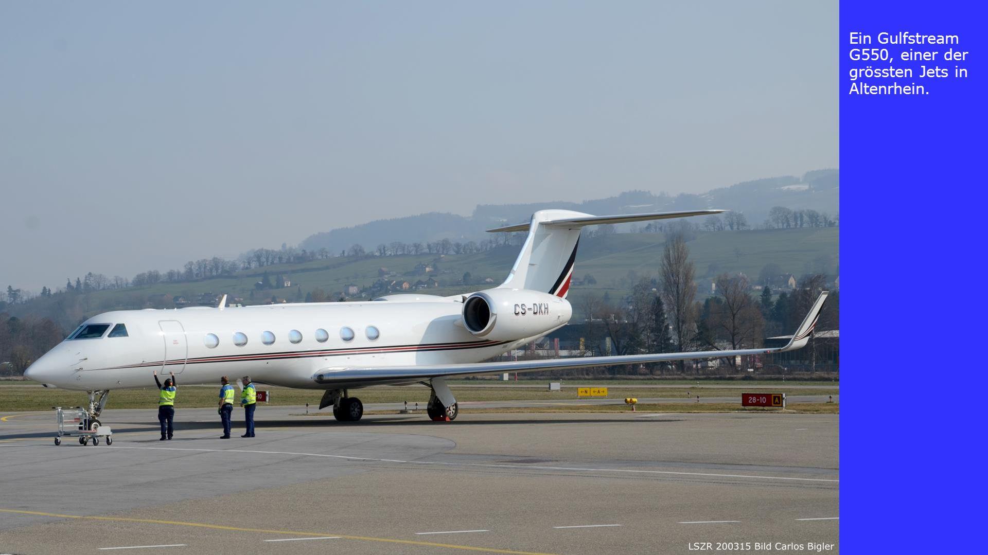 Ein Gulfstream G550, einer der grössten Jets in Altenrhein.