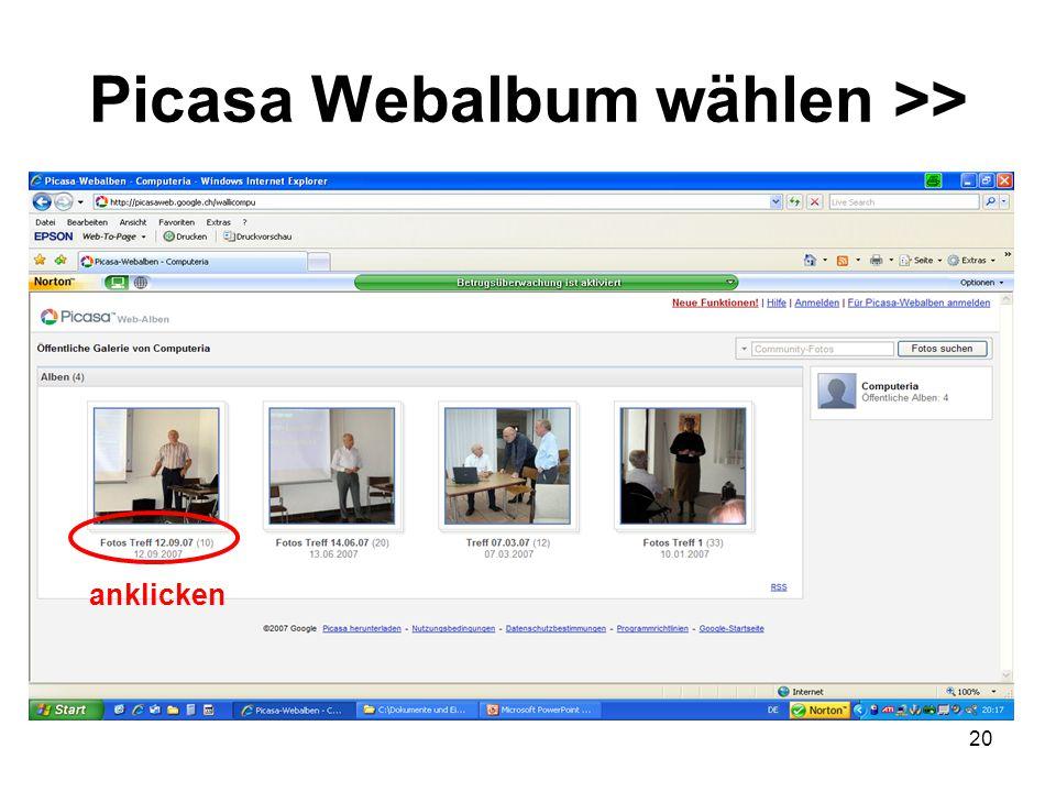 Picasa Webalbum wählen >>
