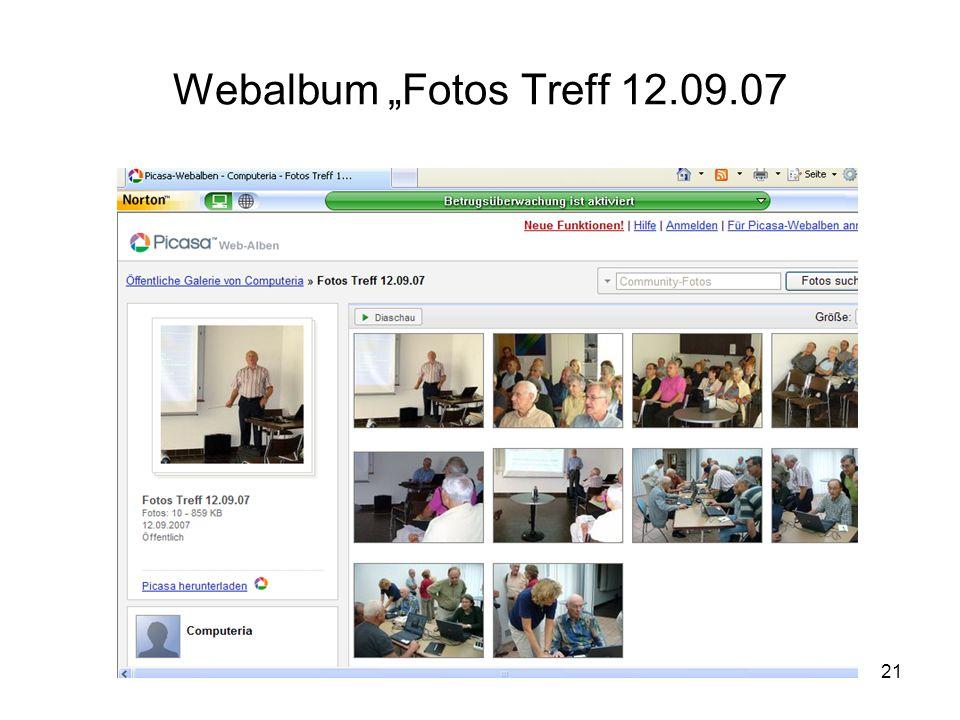 """Webalbum """"Fotos Treff 12.09.07"""