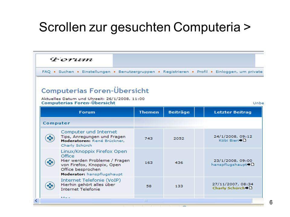 Scrollen zur gesuchten Computeria >