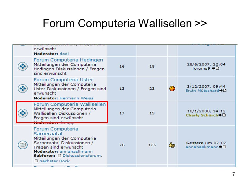 Forum Computeria Wallisellen >>