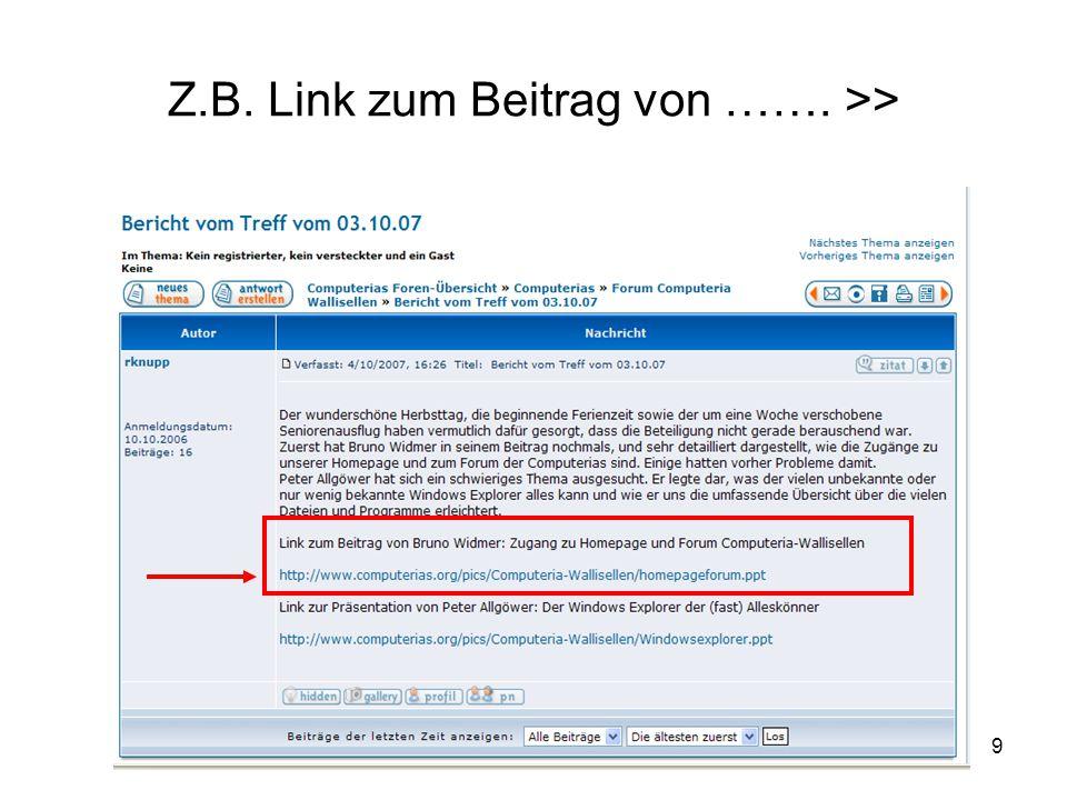 Z.B. Link zum Beitrag von ……. >>