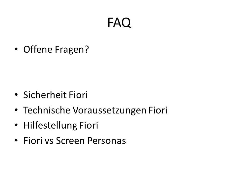 FAQ Offene Fragen Sicherheit Fiori Technische Voraussetzungen Fiori