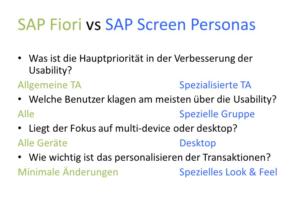SAP Fiori vs SAP Screen Personas