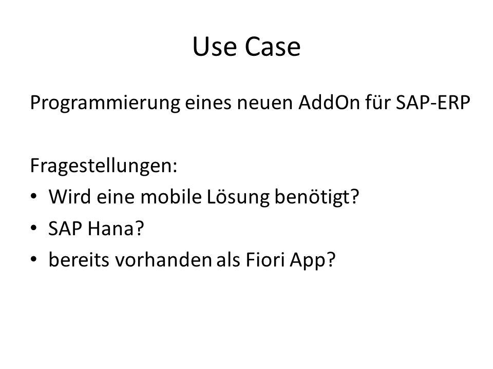Use Case Programmierung eines neuen AddOn für SAP-ERP Fragestellungen:
