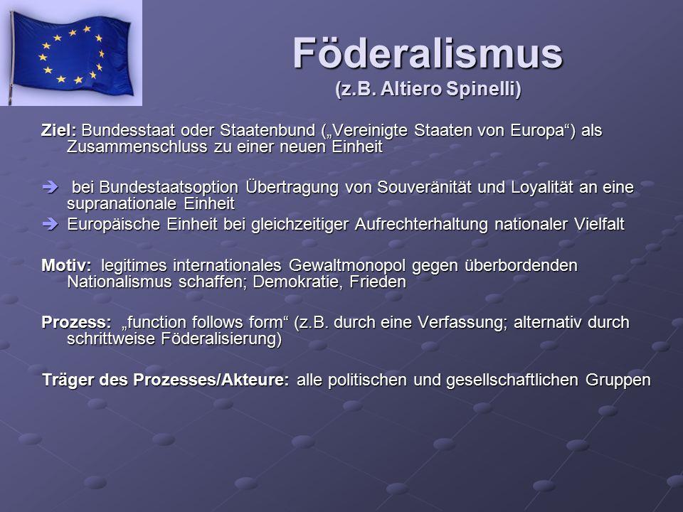 Föderalismus (z.B. Altiero Spinelli)