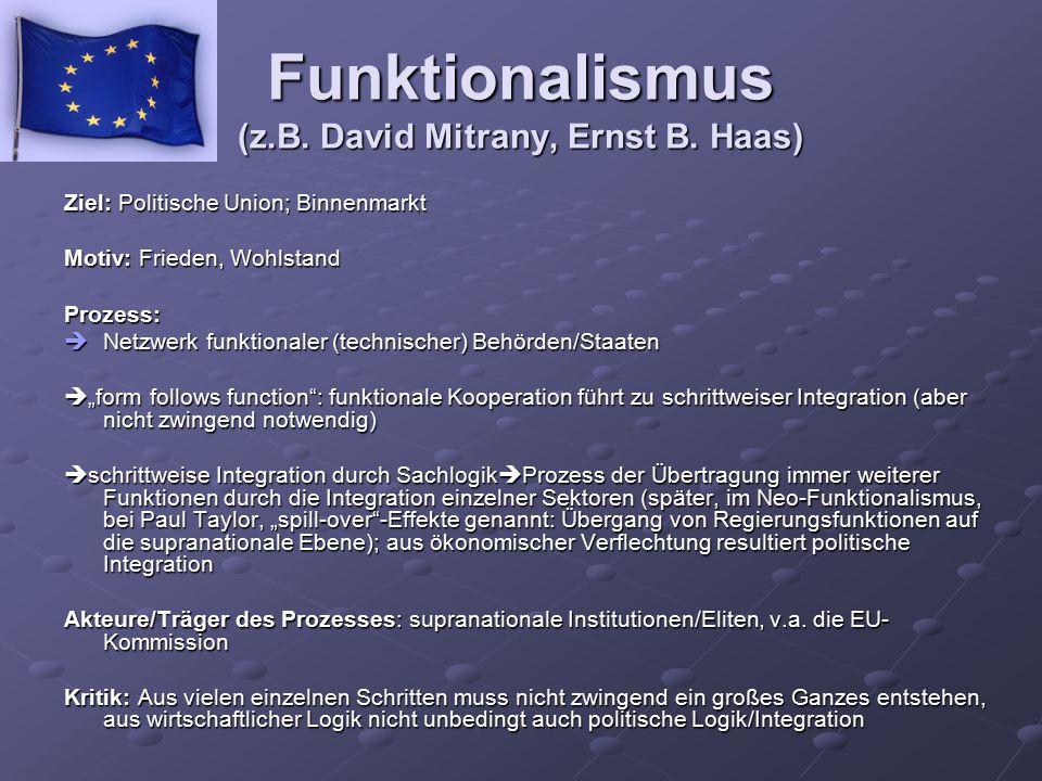 Funktionalismus (z.B. David Mitrany, Ernst B. Haas)