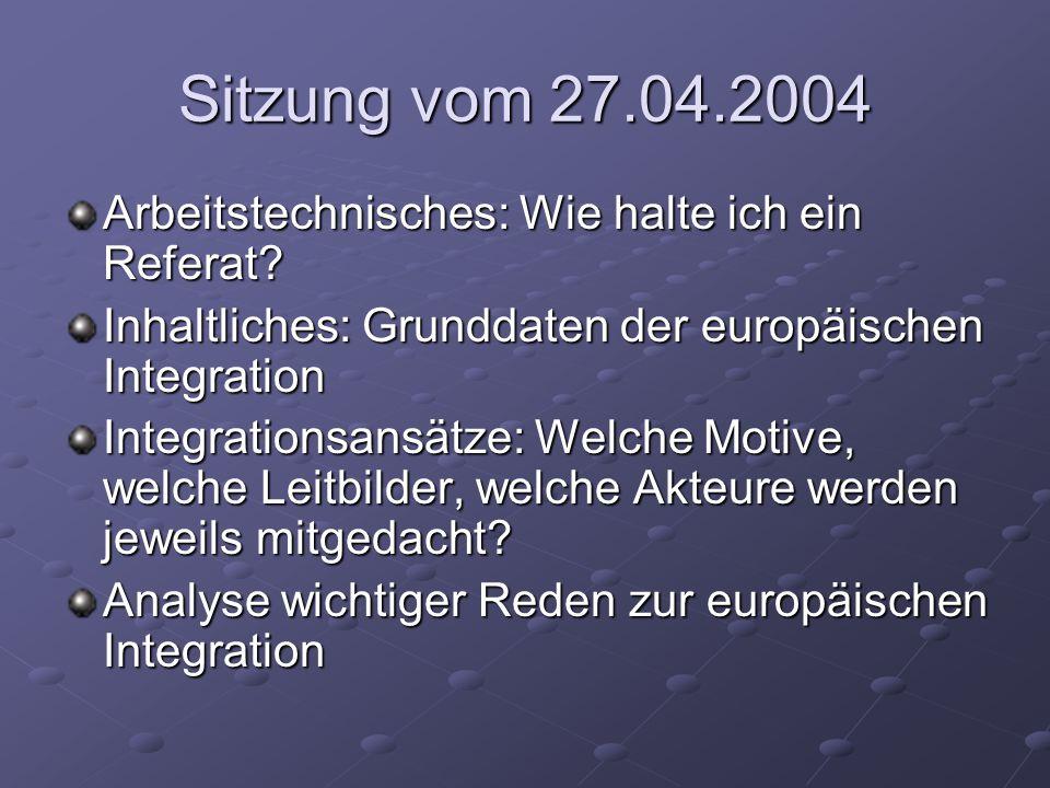 Sitzung vom 27.04.2004 Arbeitstechnisches: Wie halte ich ein Referat