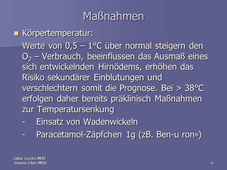 Maßnahmen Körpertemperatur:
