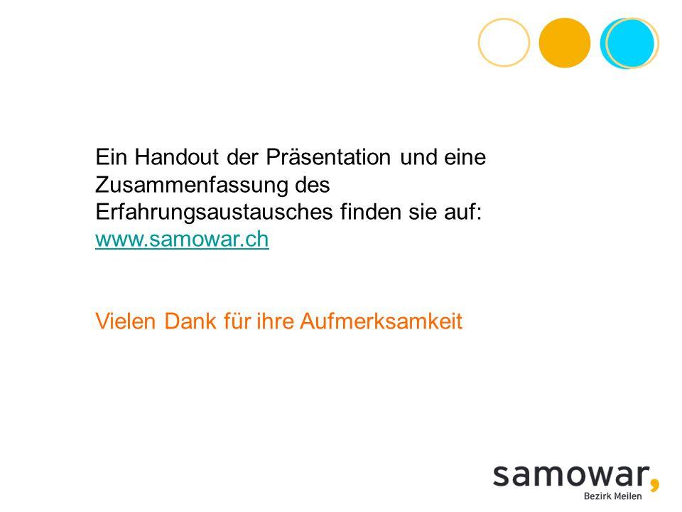 Ein Handout der Präsentation und eine Zusammenfassung des Erfahrungsaustausches finden sie auf: www.samowar.ch