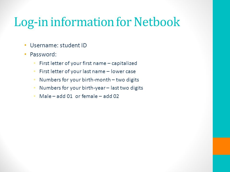 Log-in information for Netbook