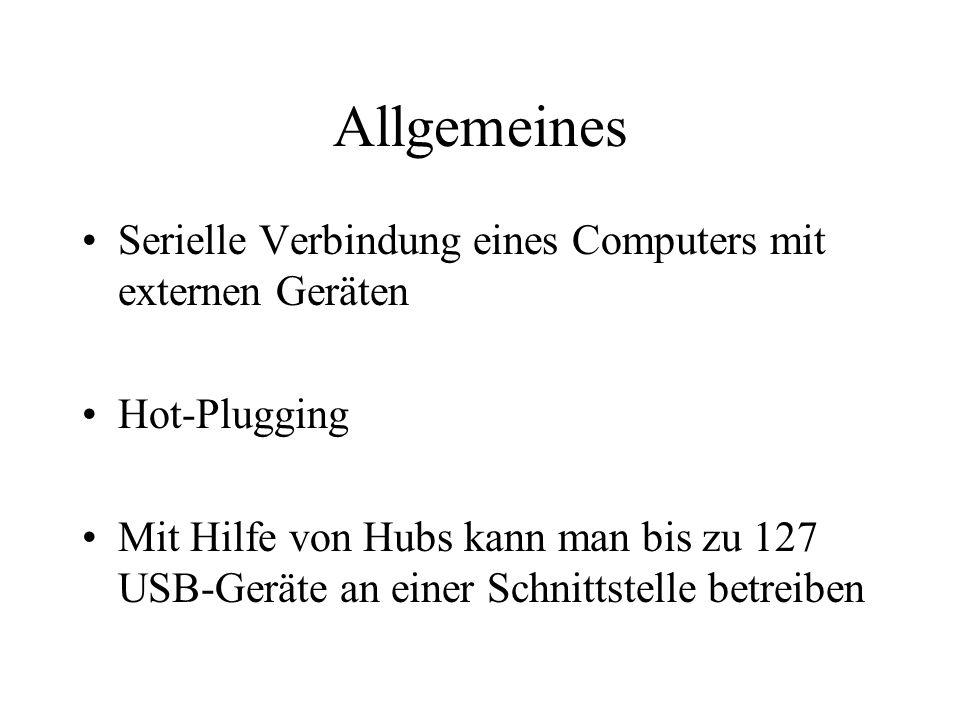 Allgemeines Serielle Verbindung eines Computers mit externen Geräten
