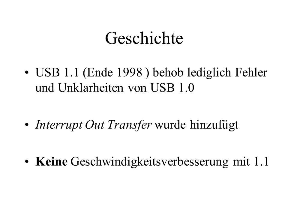Geschichte USB 1.1 (Ende 1998 ) behob lediglich Fehler und Unklarheiten von USB 1.0. Interrupt Out Transfer wurde hinzufügt.