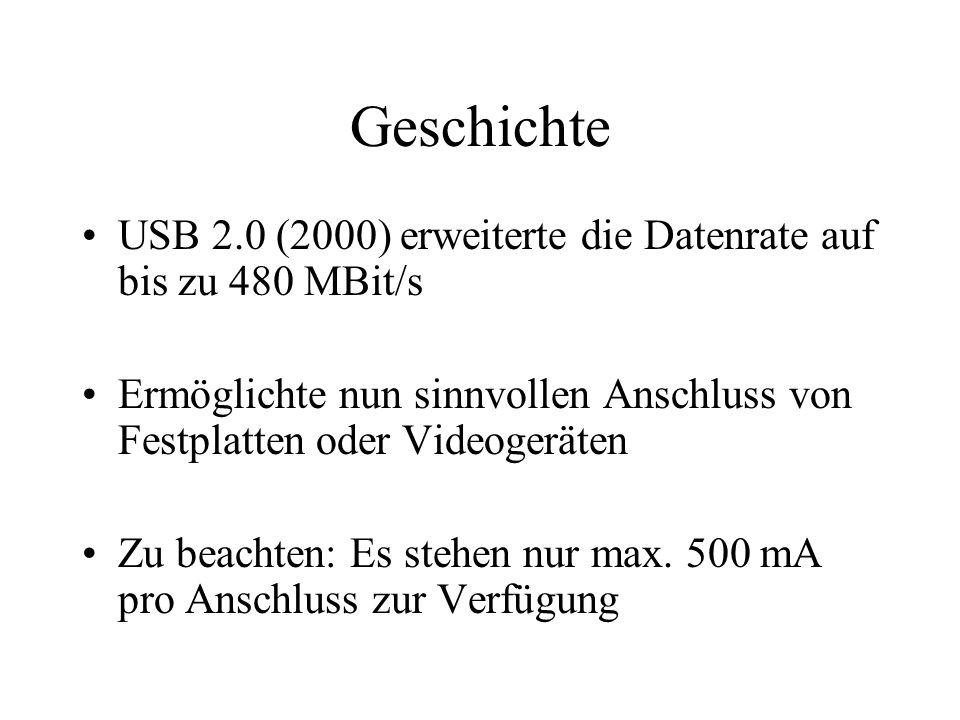 Geschichte USB 2.0 (2000) erweiterte die Datenrate auf bis zu 480 MBit/s. Ermöglichte nun sinnvollen Anschluss von Festplatten oder Videogeräten.