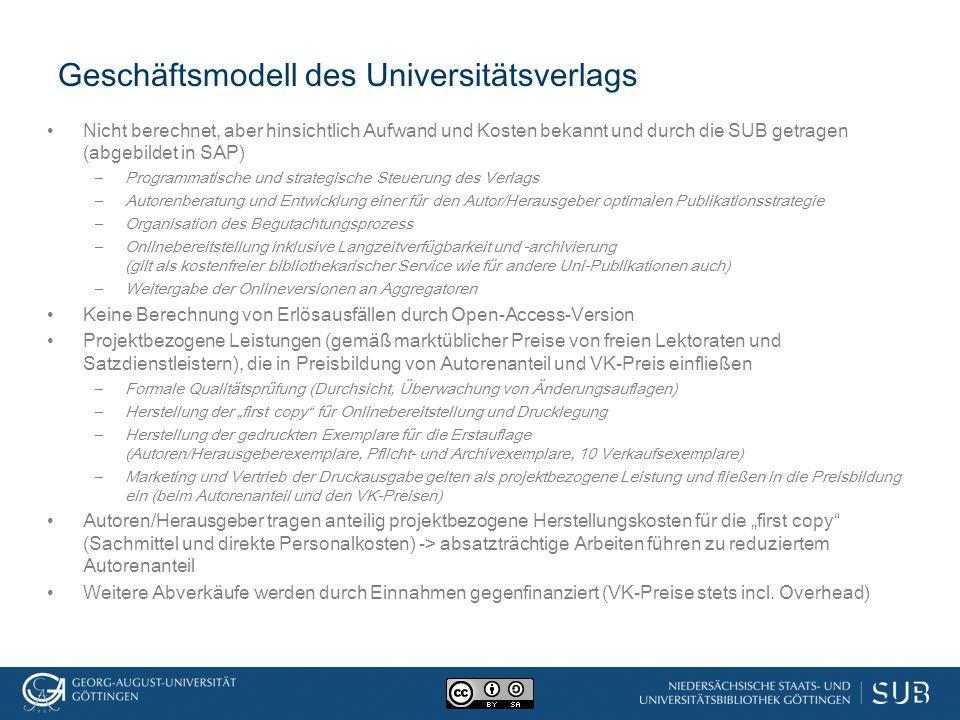 Geschäftsmodell des Universitätsverlags