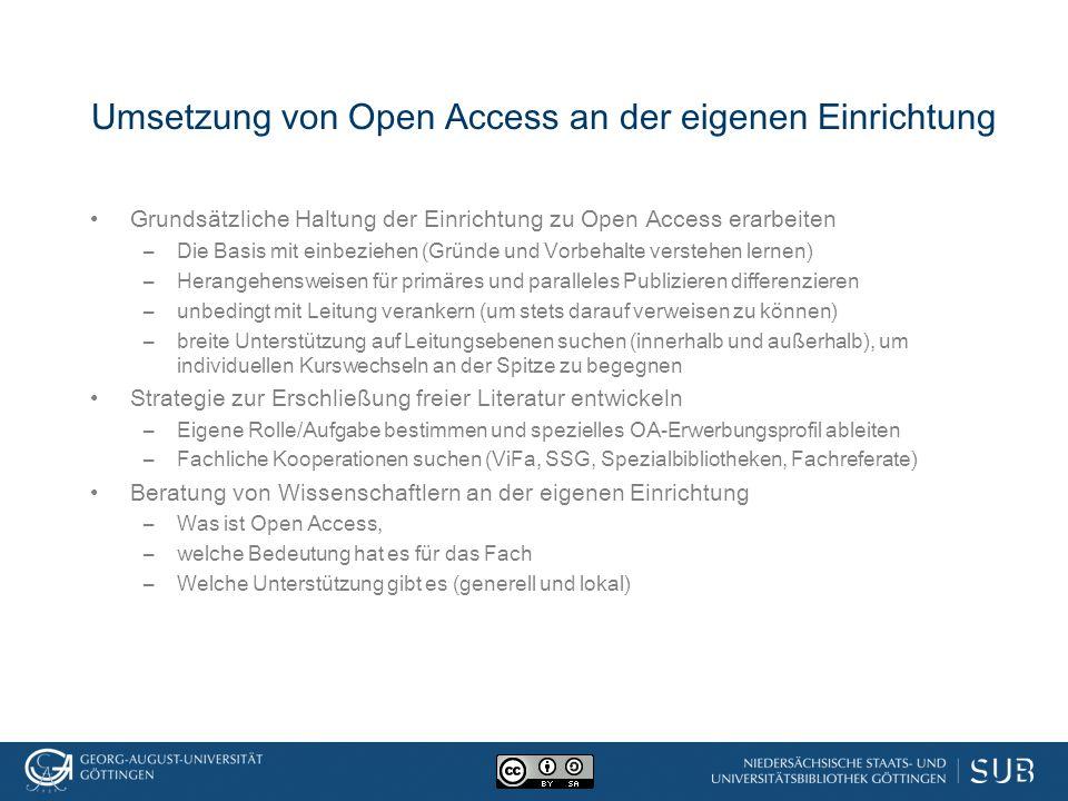 Umsetzung von Open Access an der eigenen Einrichtung