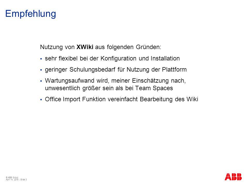 Empfehlung Nutzung von XWiki aus folgenden Gründen: