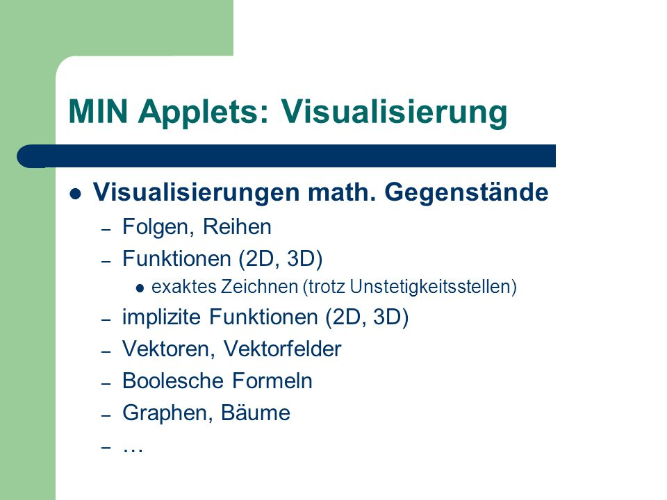 MIN Applets: Visualisierung