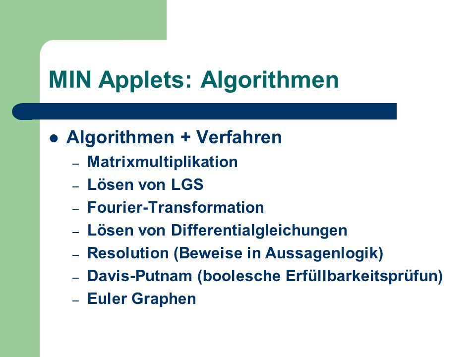 MIN Applets: Algorithmen