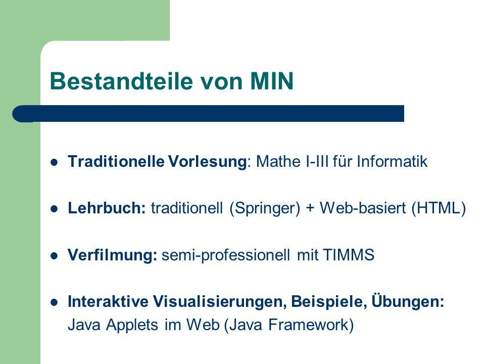 Bestandteile von MIN Traditionelle Vorlesung: Mathe I-III für Informatik. Lehrbuch: traditionell (Springer) + Web-basiert (HTML)