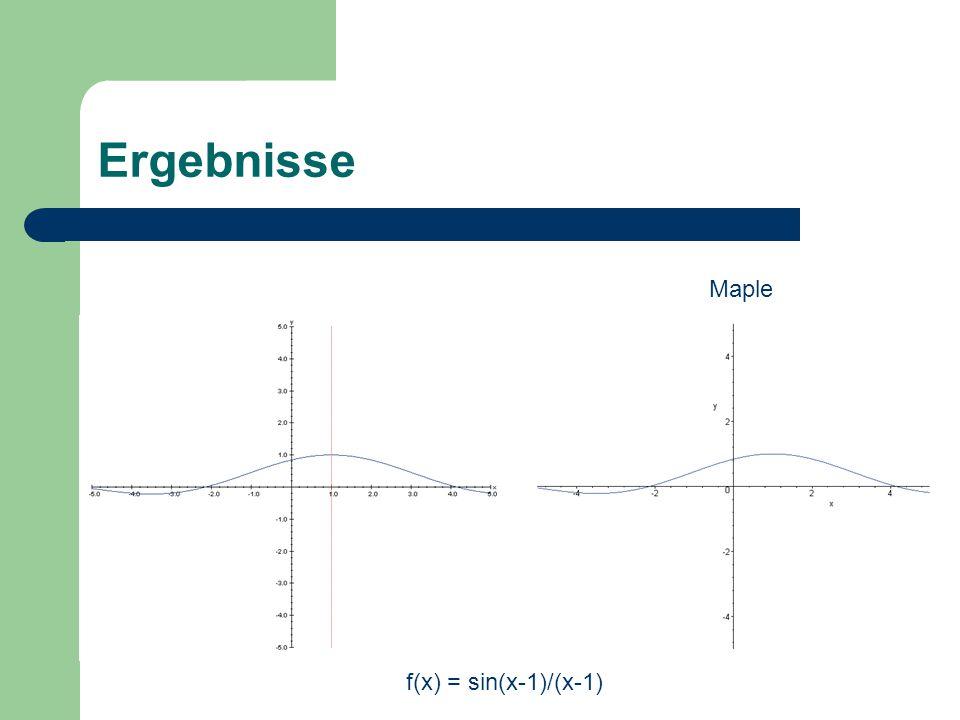 Ergebnisse Maple f(x) = sin(x-1)/(x-1)