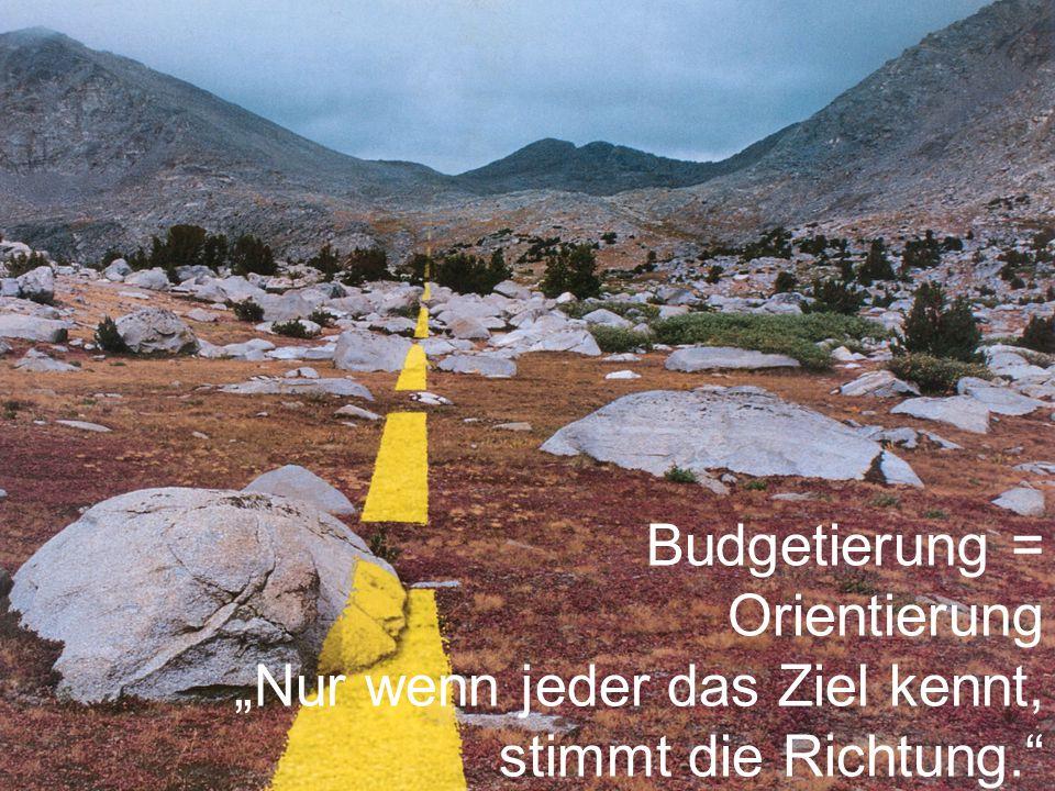 """Budgetierung = Orientierung """"Nur wenn jeder das Ziel kennt, stimmt die Richtung."""