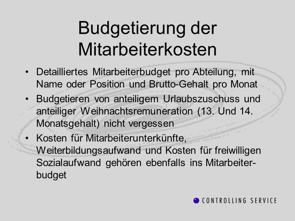 Budgetierung der Mitarbeiterkosten