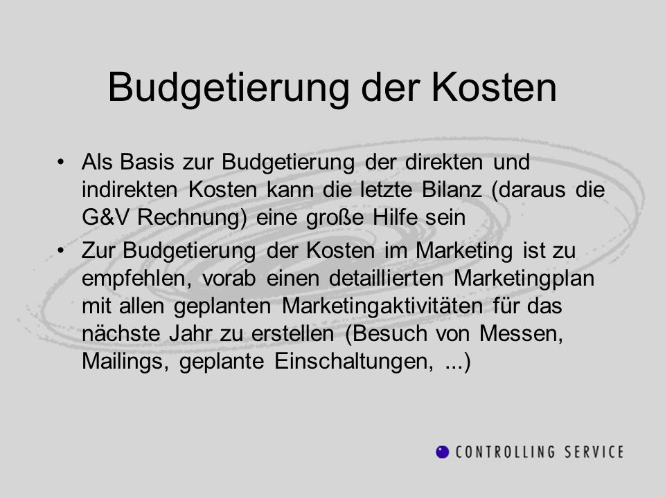 Budgetierung der Kosten
