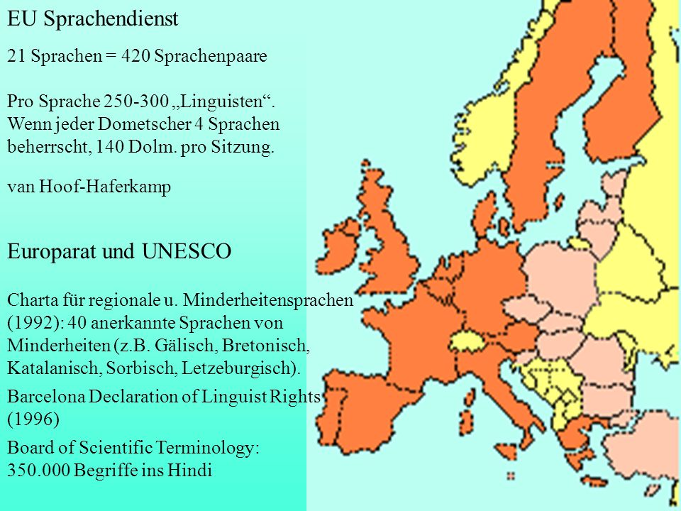 EU Sprachendienst Europarat und UNESCO 21 Sprachen = 420 Sprachenpaare