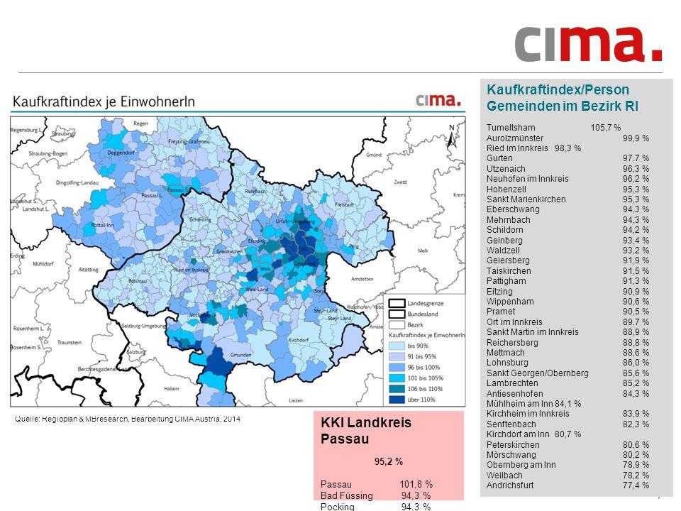 Kaufkraftindex/Person Gemeinden im Bezirk RI