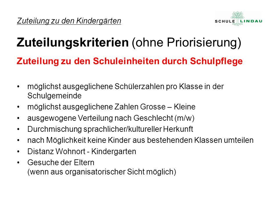 Zuteilung zu den Kindergärten Zuteilungskriterien (ohne Priorisierung)