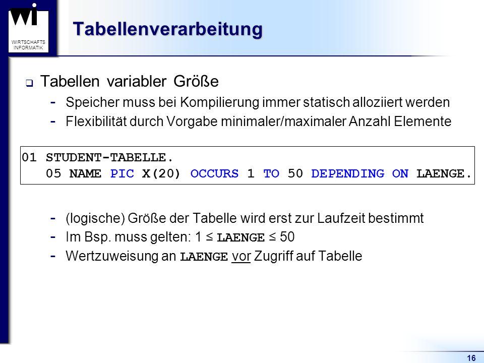Tabellenverarbeitung