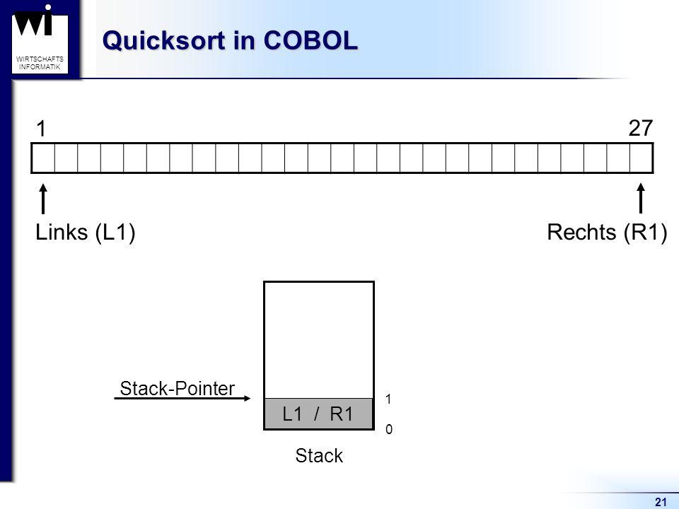 Quicksort in COBOL 1 27 Links (L1) Rechts (R1) Stack-Pointer L1 / R1