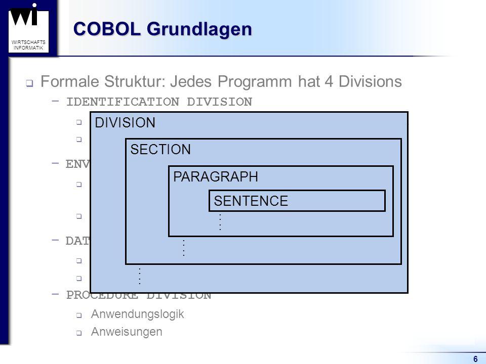 COBOL Grundlagen Formale Struktur: Jedes Programm hat 4 Divisions