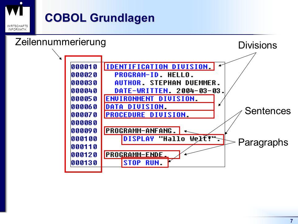COBOL Grundlagen Zeilennummerierung Divisions Sentences Paragraphs