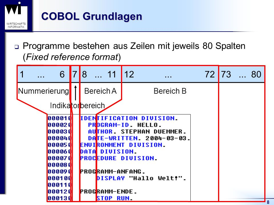COBOL Grundlagen Programme bestehen aus Zeilen mit jeweils 80 Spalten (Fixed reference format) 1 ... 6.