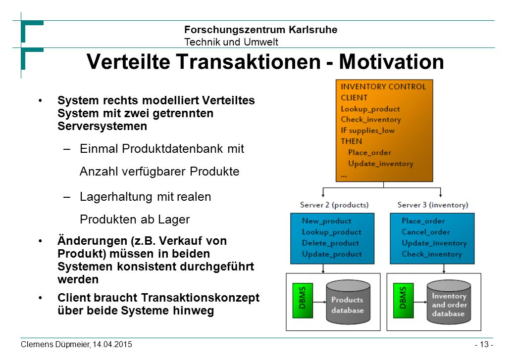 Verteilte Transaktionen - Motivation