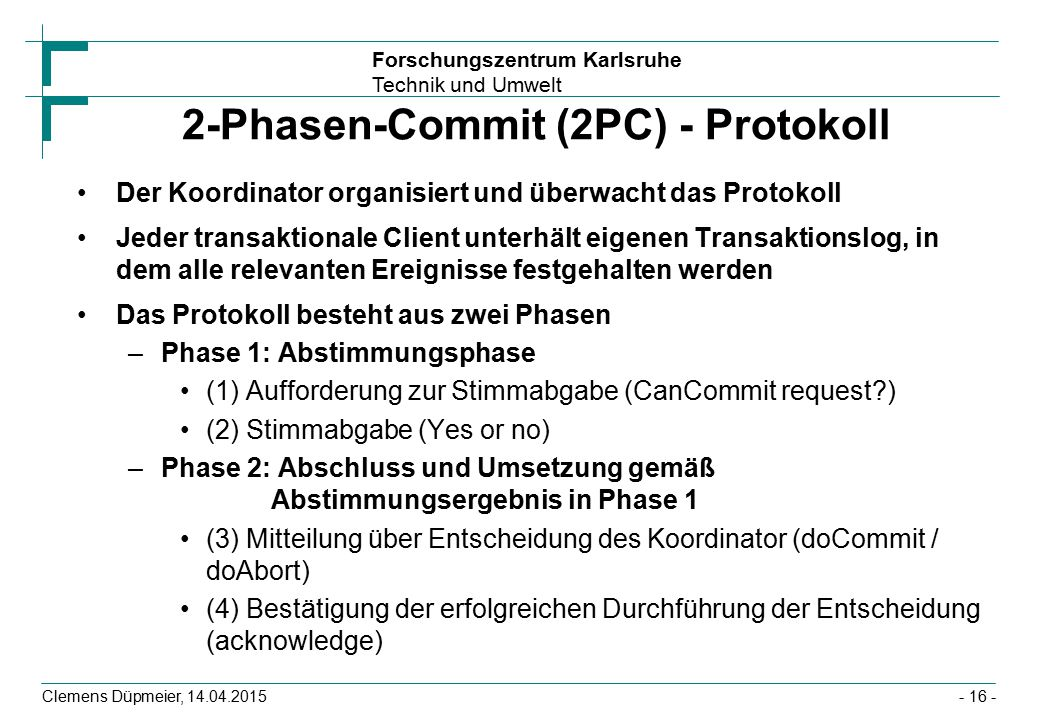 2-Phasen-Commit (2PC) - Protokoll